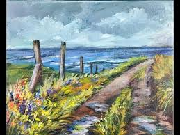 avoid color mixing mistakes painting wildflowers on a country lane