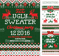 ugly sweater christmas party cards knitted pattern scandinavian