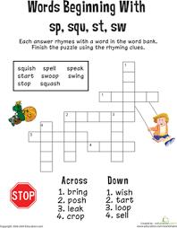 consonant crossword words beginning with sp squ st sw