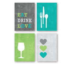 modern kitchen or dining room wall art print set eat drink zoom