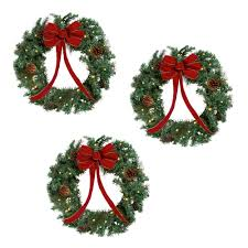pre lit wreaths set of 3 tree shops andthat