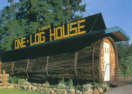 log house famous house carved out of a giant redwood log