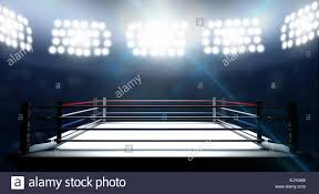 Outdoor Arena Lights by An Boxing Ring Surrounded By Ropes Spotlit By Floodlights In An