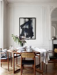 Apartment Dining Table Minimal New Midcentury Modern White Neutral Monochrome Palette