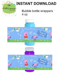 peppa pig and george pig bubble bottle label digital file peppa