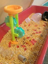 fall corn october sensory table bag of deer corn at a farm store