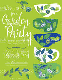 garden party tea bridal shower invitation template stock vector