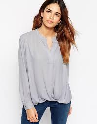 wrap shirts blouses lyst asos v neck drape wrap blouse in gray