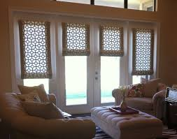 white wooden french doors window with flat roman shade combined