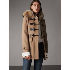 detachable fur trim wool duffle coat in camel women burberry