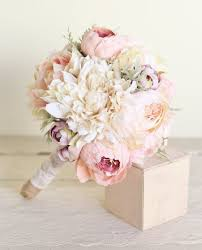 silk wedding flowers silk bridal bouquet pink peonies dusty miller от braggingbags