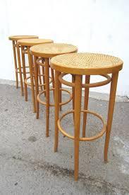 set of four vintage michael thonet design cane bar stools 29