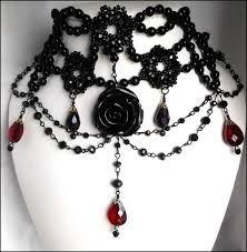 black victorian choker necklace images Black rose gothic victorian choker red crystal tear drop gothic jpg