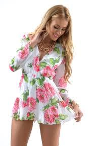 white long sleeve romper with pink flower print ustrendy www