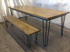 Benches For Dining Room Tables Hairpin Leg Table And Bench With Modern Chairs My Dream Set Up