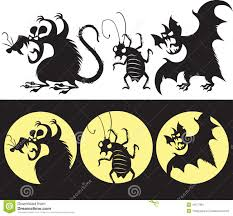 scary halloween clipart halloween set of angry rat bat and cockroach silhouette stock