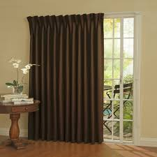 dark brown fabric shade on the hook for glass sliding door with