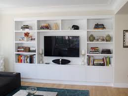 recessed built in wall unit in white bookshelves pinterest