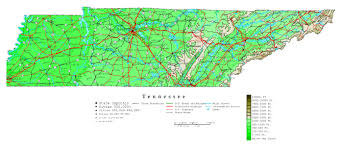 Map Of United States With Interstate Highways by Large Detailed Elevation Map Of Tennessee State With Roads