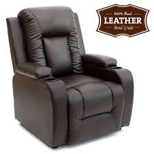 leather recliner chairs oscar leather recliner w drink holders armchair sofa chair