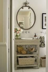 Polished Nickel Bathroom Mirrors by Vintage Bathroom With Gray Washed Wood Single Bathroom Vanity