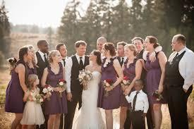 independent designer real wedding plum bridesmaid dress