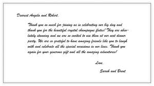 wedding gift note thank you note for dinner card wedding gift template simple