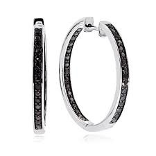 black diamond hoop earrings 1 4 carat black diamond inside out hoop earrings in sterling