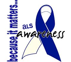 blue support ribbon raising awareness is not easy amyotrophic lateral sclerosis