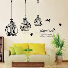 attractive removable black birdcage birds wall sticker home art