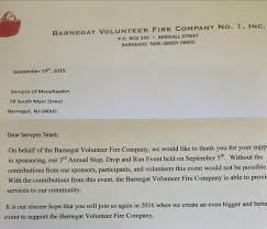 thank you letter from the barnegat volunteer fire company