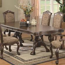 cherry finish traditional dining table w extension leaf