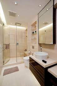 ensuite shower head at the same end as taps opposite bench seat