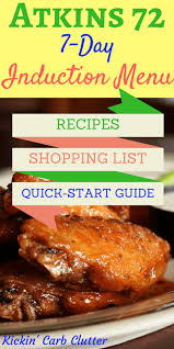 atkins 72 induction menu with recipes keto quick start guide