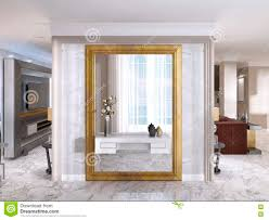 luxurious art deco entrance hall with a large designer mirror