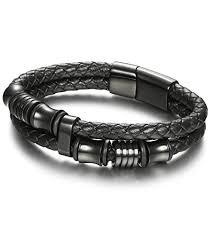 white leather bracelet images Joerica magnetic clasp leather bracelets for men teens jpg