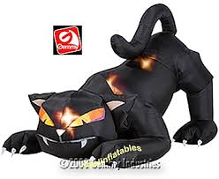 gemmy airblown inflatable black cat with animated head that turns