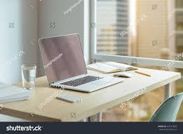 Modern Laptop Desk by Close Desktop Businessman Wooden Desk Modern Stock Photo 445113829