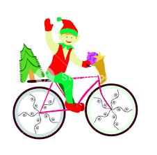 christmas elf on bike royalty free stock image storyblocks