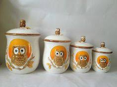set of 4 vintage owl canisters with napkin holder sears roebuck co
