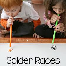 halloween party classroom ideas spider races sensory activities spider and activities