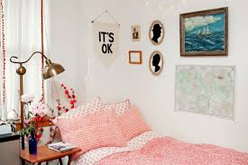 simple pink girls dorm room design with sea mural with wooden simple pink girls dorm room design with sea mural with wooden frame plus its ok mural