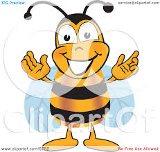 clipart picture of a bee mascot cartoon character greeting with