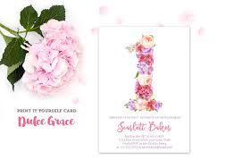 floral 1st birthday invitations floral number birthday