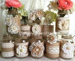 jar centerpiece burlap and lace jar centerpiece burlap wrapped jar