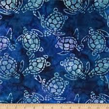 michael miller batik sea turtles blue discount designer fabric