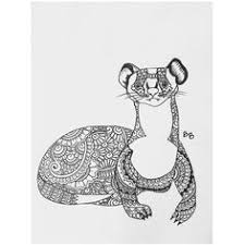 coloring page for anti stress art therapy hand drawn ferret
