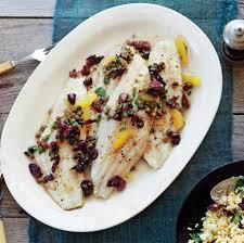 Fish Mediterranean Style Sea Bass With Citrus Olive Caper Sauce Recipe Epicurious Com