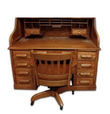 Office Chair Top View Oak Roll Top Desk And Office Chair Ebth
