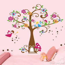 little elf magic tree house wall decal stickers decor for kids cartoon drawing fairy tale art wall stickers kids bed room for teen girls very easy simple peeling off decor